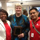 Dr. Cynthia Herbert, with two of her Central American teachers, during recgonition for her part in the innovative educational program SEED at Palo Alto College. De. Herbert has been a lead instructor and curriculum developer for the program during the past decade.